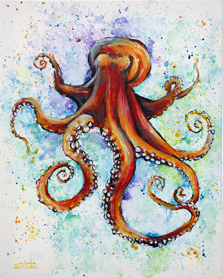 Colorful ink painting by arleana holtzmann for Colorful octopus painting