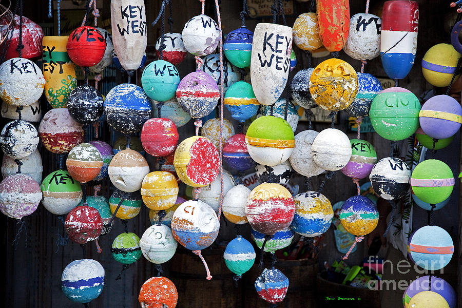 Lobster Fishing Photograph - Colorful Key West Lobster Buoys by John Stephens