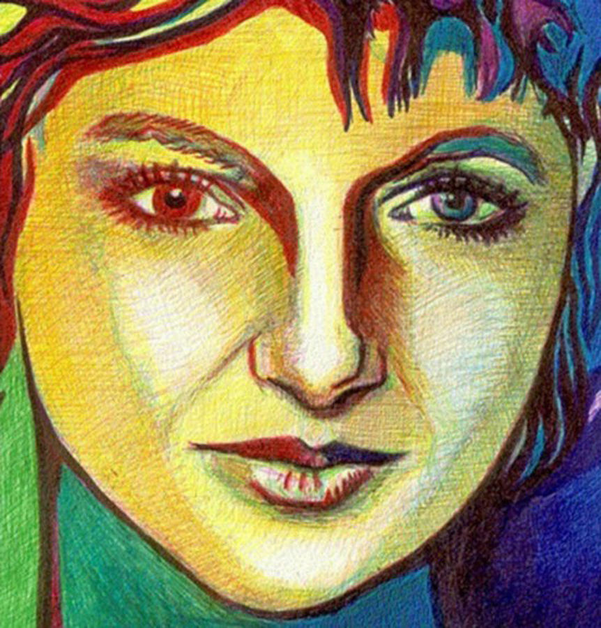 Ballpoint Drawing Drawing - Colorful Lady by Jerry  Stith