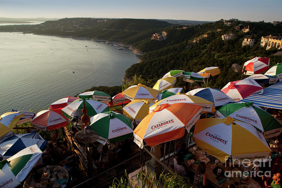 Adults Photograph - Colorful Lake Travis Restaurant Overlooks Hippie Hollow by Austin Welcome Center