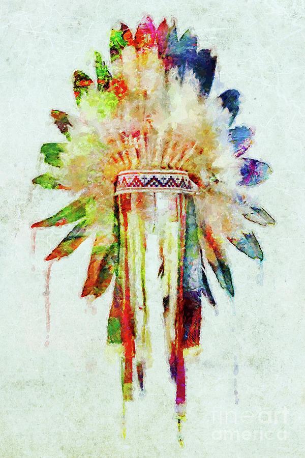 Colorful Lakota Sioux Headdress Mixed Media By Olga Hamilton
