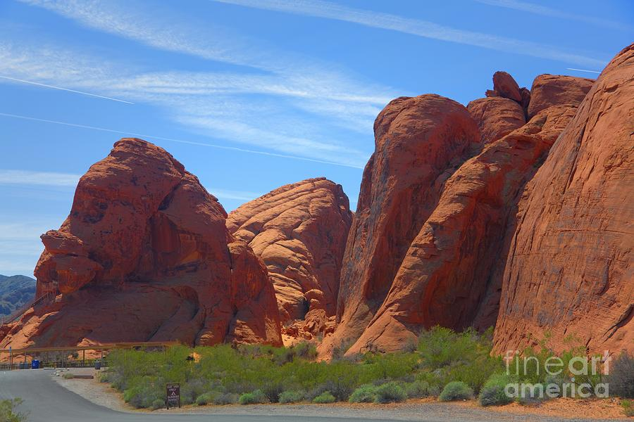Valley Of Fire Photograph - Colorful Landscape Rock Mountains Of Overton Nevada  by Chuck Kuhn
