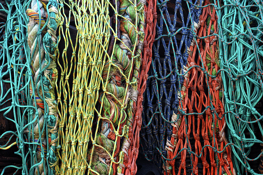 Fishing Net Photograph - Colorful Layers Of Fishing Nets by Carol Leigh