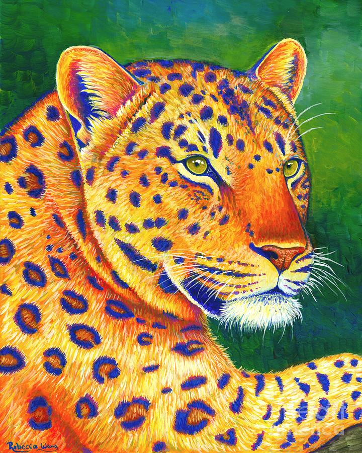 Colorful Leopard Portrait by Rebecca Wang