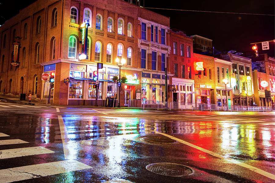 Colorful Lights Of The Music City - Nashville Tennessee Photograph