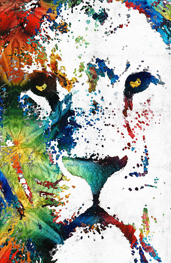 Lions Painting - Colorful Lion Art By Sharon Cummings by Sharon Cummings