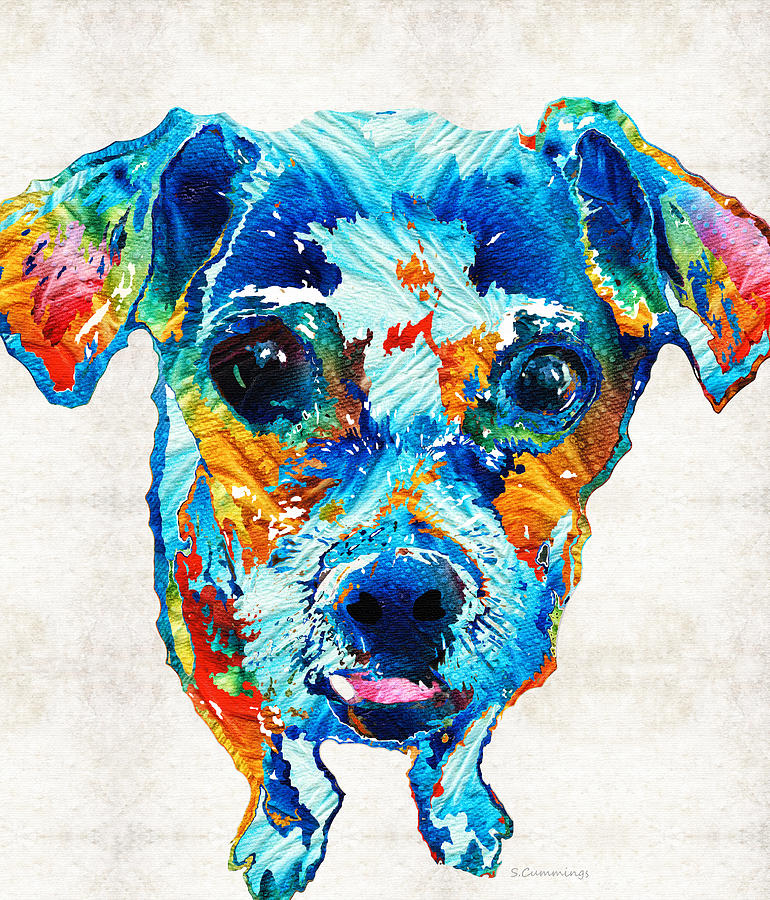 Dog Painting - Colorful Little Dog Pop Art By Sharon Cummings by Sharon Cummings