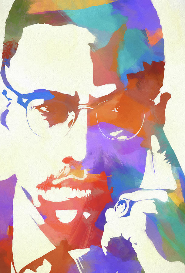 Malcolm X Painting - Colorful Malcolm X by Dan Sproul