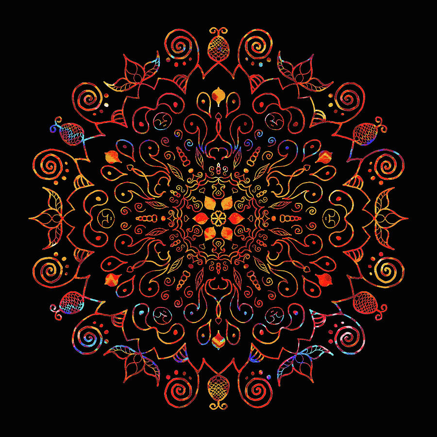 Colorful Mandala with Black Digital Art by Patricia Lintner