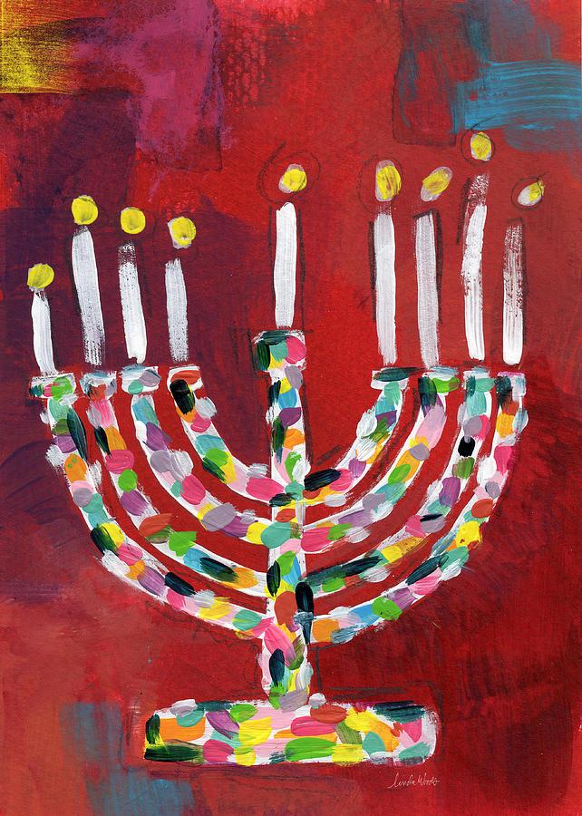 Colorful Menorah- Art By Linda Woods Painting