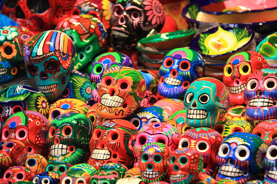 colorful mexican day of the dean ceramic skulls photograph by roupen