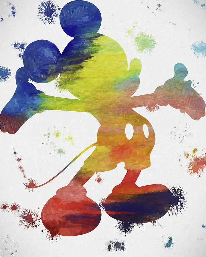 Colorful Mickey Mouse Paint Splatter Painting by Dan Sproul
