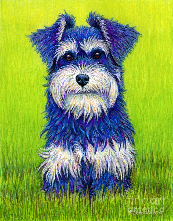 Colorful Miniature Schnauzer Dog by Rebecca Wang