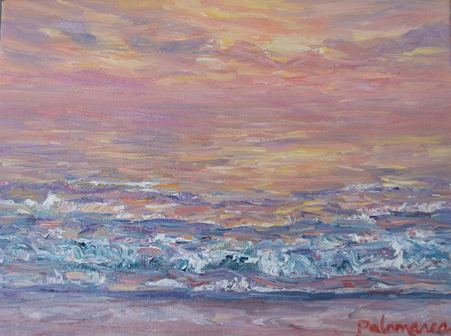 Colorful Monet Style Beach Sunset Painting by Amber Palomares
