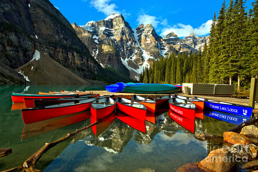 Colorful Moraine Lake Canoes