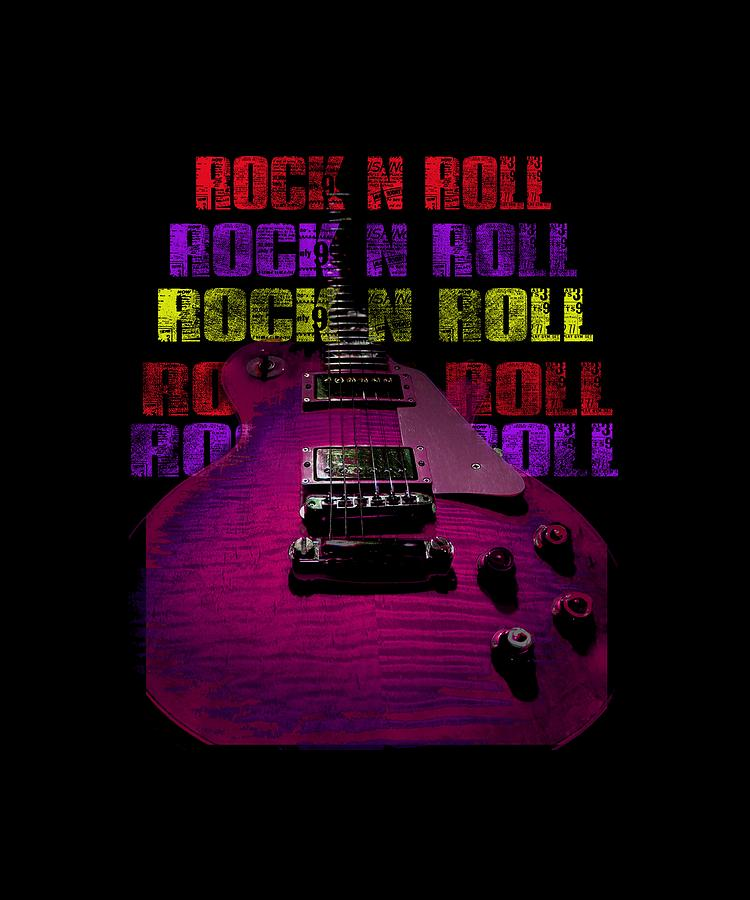 Guitar Photograph - Colorful Music Rock N Roll Guitar Retro Distressed T-shirt by Guitar Wacky