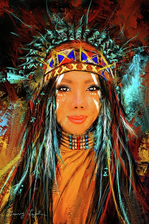 Colorful Native American Woman Painting by Lourry Legarde