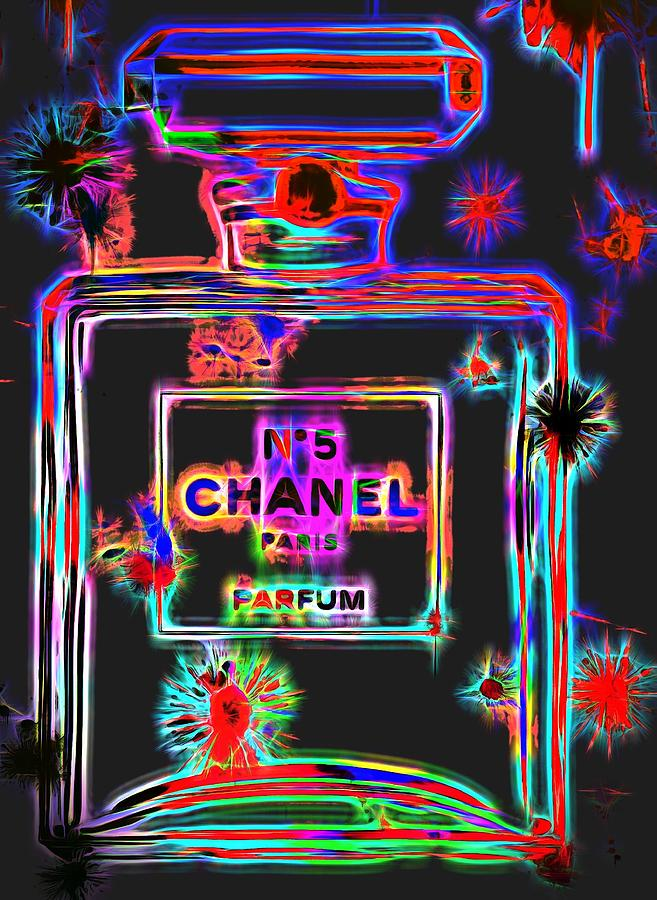 Chanel Number Five Digital Art - Colorful Neon Chanel Five  by Dan Sproul