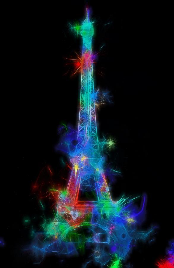 Colorful Neon Eiffel Tower Digital Art