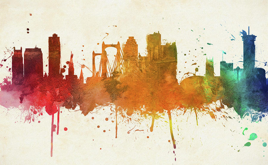 CITYSCAPE NEW ORLEANS SKYLINE PAINT SPLASH Painting Canvas art Prints