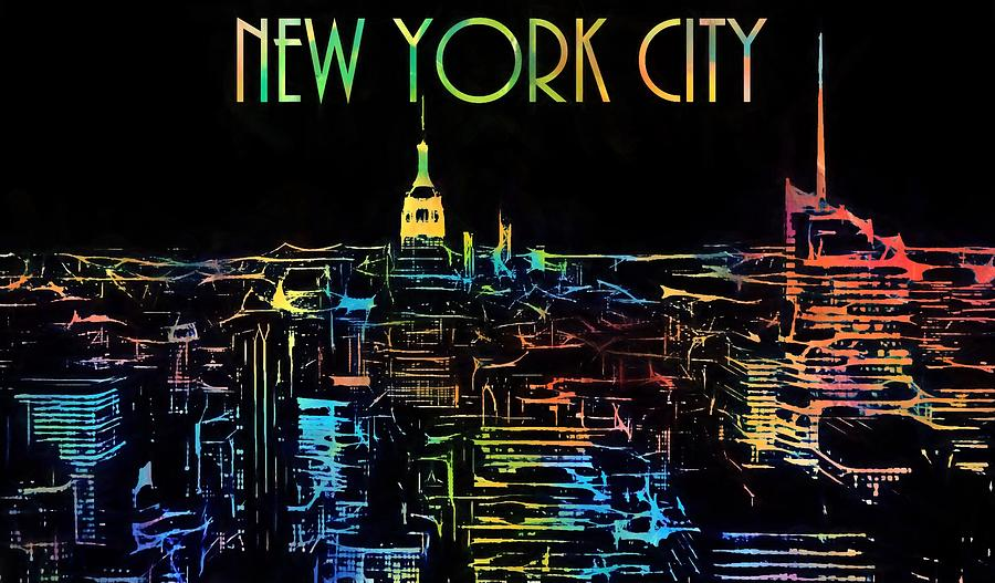 Colorful New York City Skyline Painting By Dan Sproul