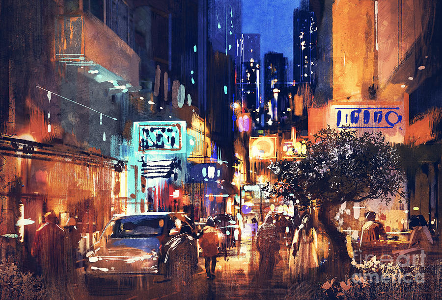 Abstract Painting - Colorful Night Street by Tithi Luadthong