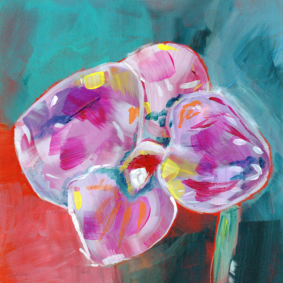 Abstract Painting - Colorful Orchid- Art By Linda Woods by Linda Woods