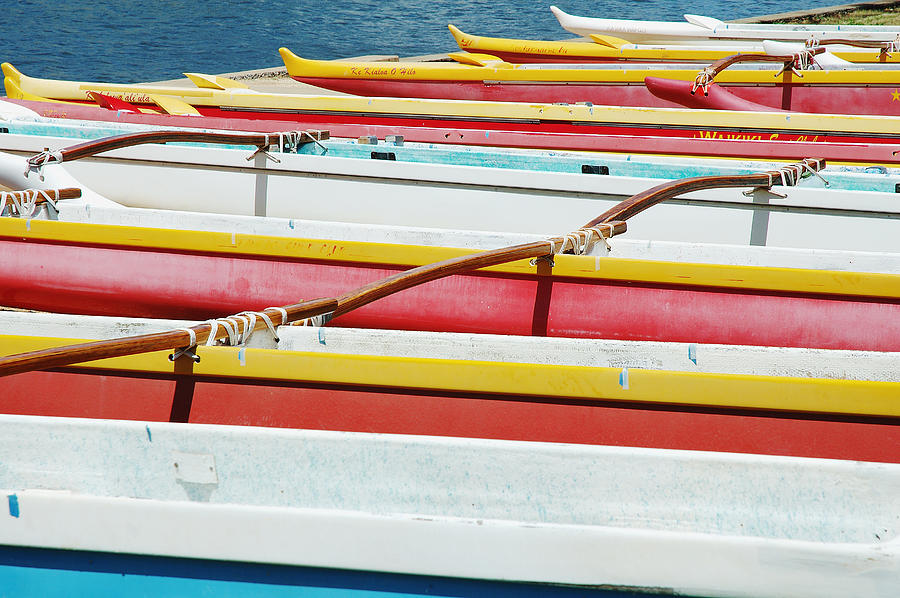 Afternoon Photograph - Colorful Outrigger Canoes by Mary Van de Ven - Printscapes