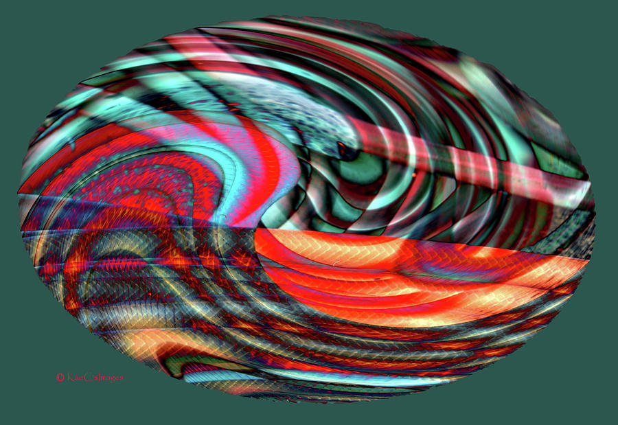 Abstract Digital Art - Colorful Oval Abstract 7179f  by Kae Cheatham