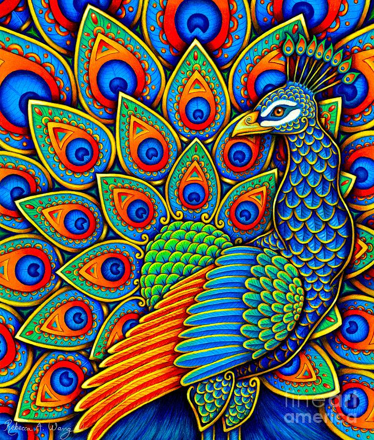 Colorful Paisley Peacock by Rebecca Wang