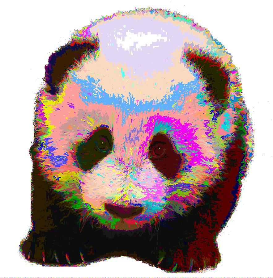 colorful panda painting by samuel majcen