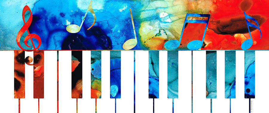 Piano Painting - Colorful Piano Art by Sharon Cummings by Sharon Cummings