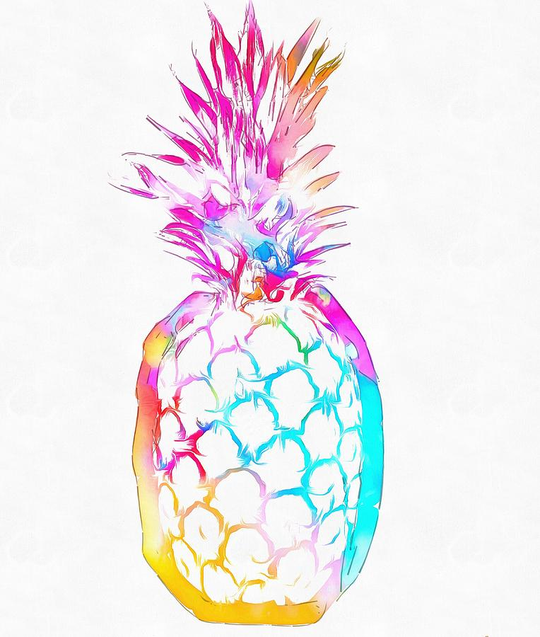 Colorful Pineapple Painting By Dan Sproul