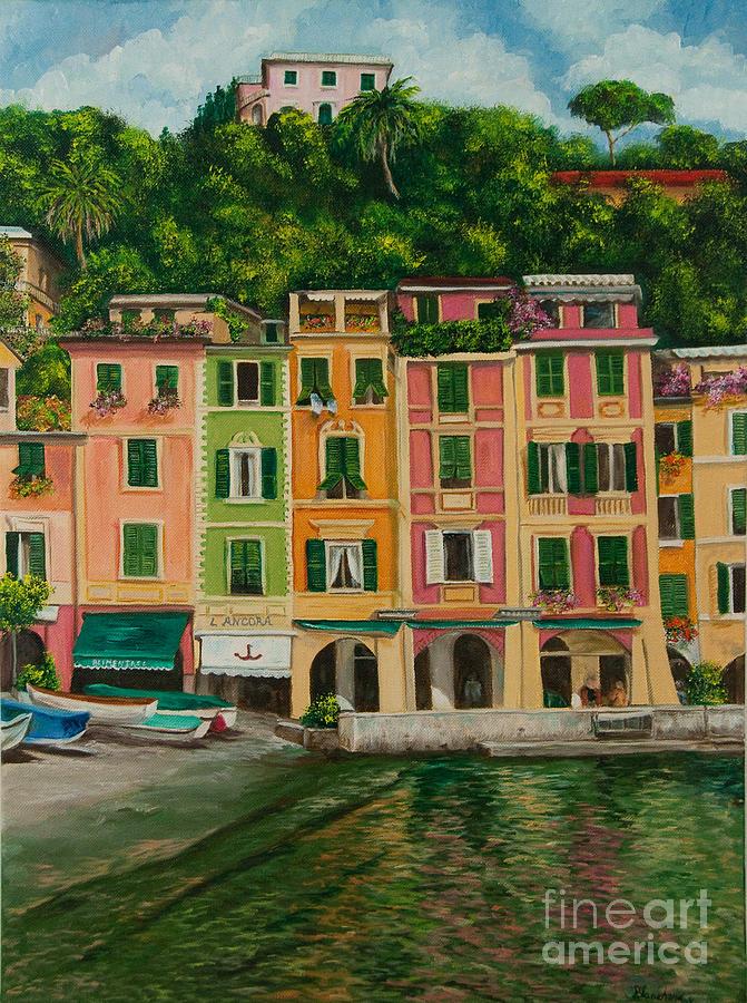 Portofino Italy Artist Painting - Colorful Portofino by Charlotte Blanchard