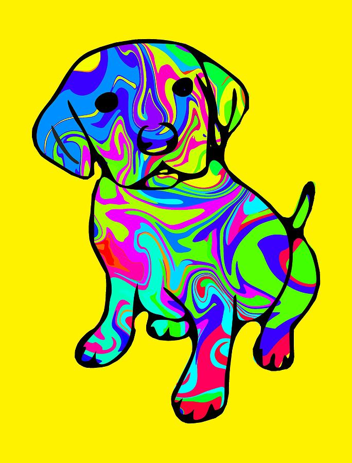 Puppy Digital Art - Colorful Puppy by Chris Butler