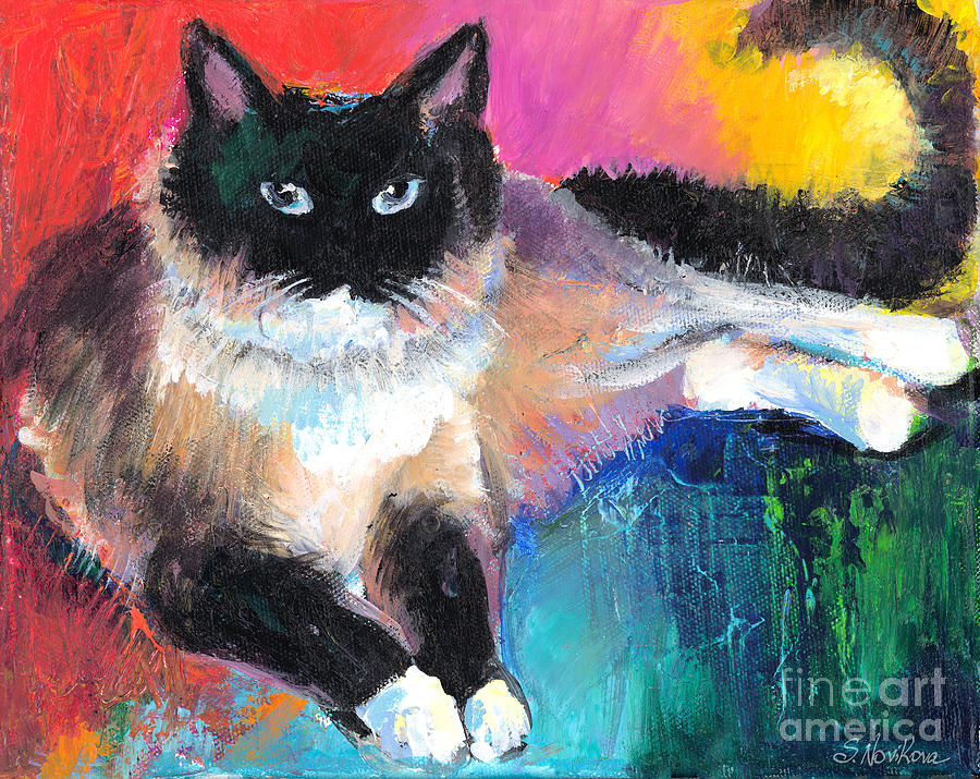 Ragdoll Cat Painting - Colorful Ragdoll Cat Painting by Svetlana Novikova