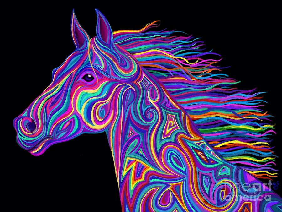 Colorful Rainbow Stallion Drawing