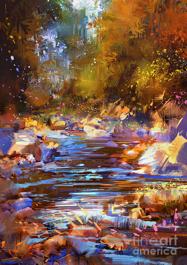 Abstract Painting - Colorful River by Tithi Luadthong