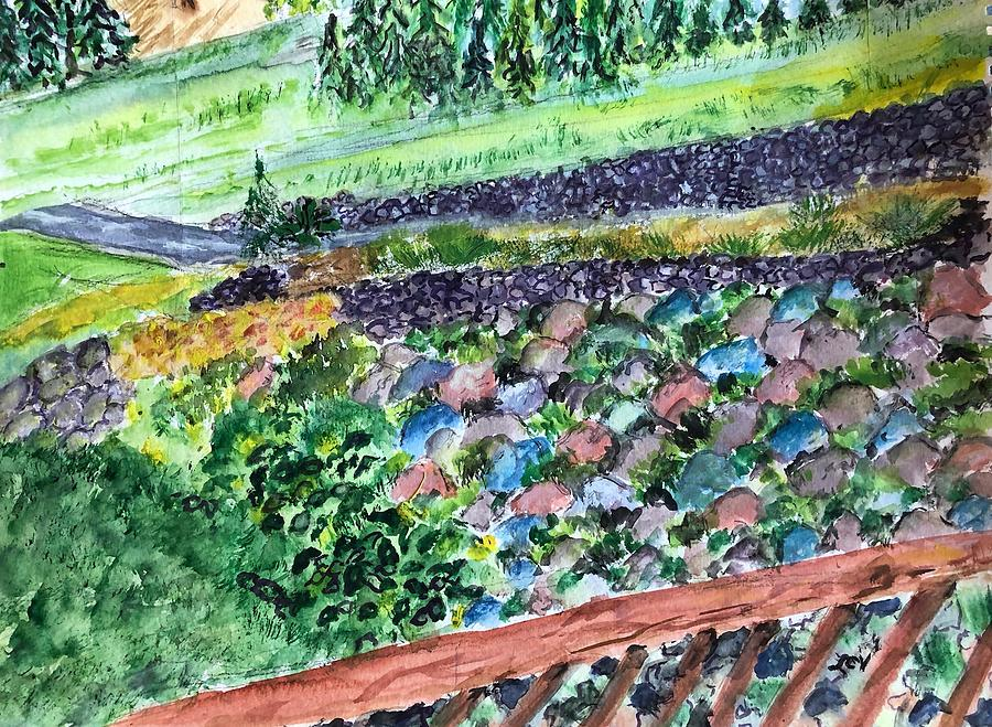 Colorful Rock Garden Painting by Lucille Valentino
