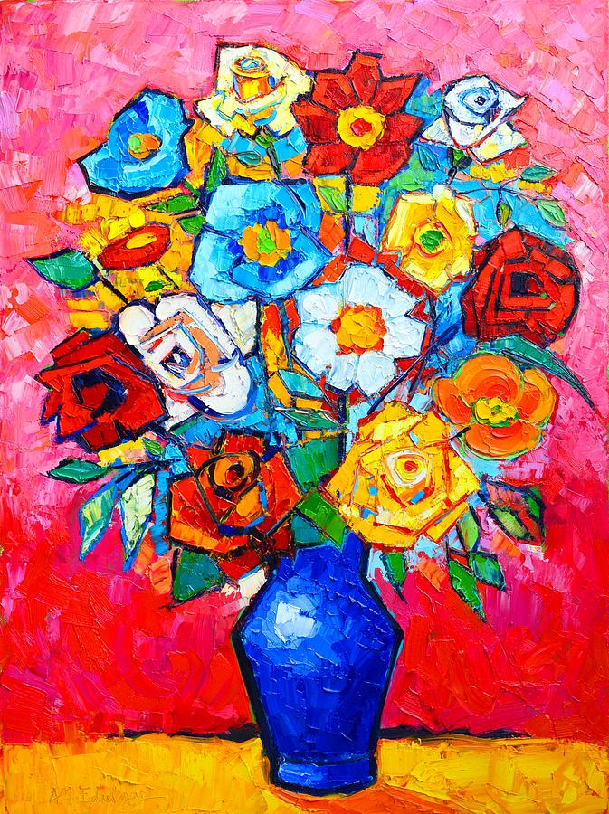 Colorful Roses And Camellias - Abstract Bouquet Of Flowers Painting ...