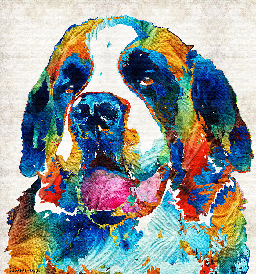 Colorful saint bernard dog by sharon cummings painting by for Dog painting artist