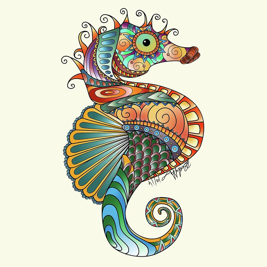 Colorful Seahorse Drawing by Becky Herrera