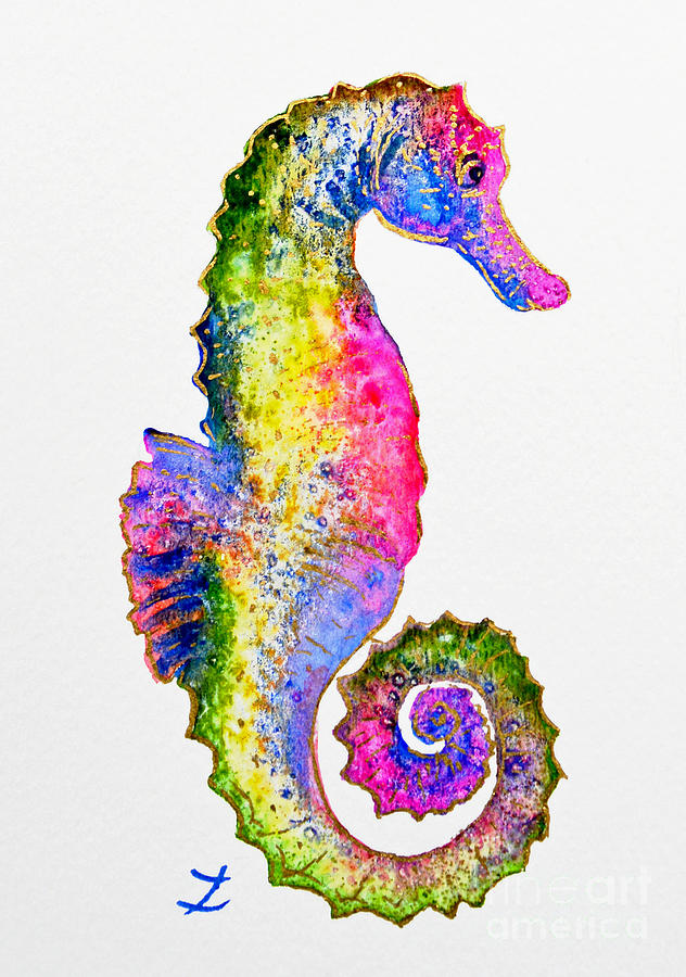Colorful Seahorse Painting By Zaira Dzhaubaeva