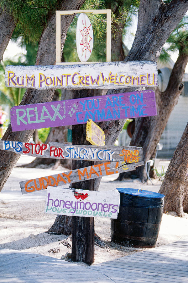 British West Indies Photograph - Colorful Signs At Rum Point Grand Cayman Island by George Oze