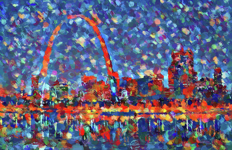 St Louis Skyline Painting - Colorful St Louis Skyline by Dan Sproul