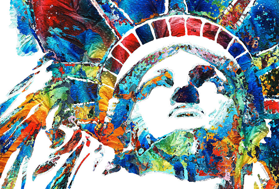 Statue Of Liberty Painting - Colorful Statue Of Liberty - Sharon Cummings by Sharon Cummings