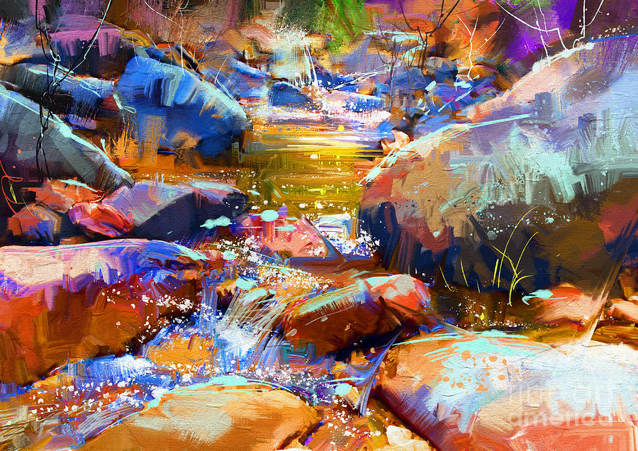 Artistic Painting - Colorful Stones by Tithi Luadthong