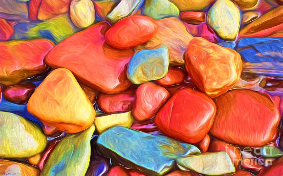 Abstract Painting - Colorful Stones by Veikko Suikkanen