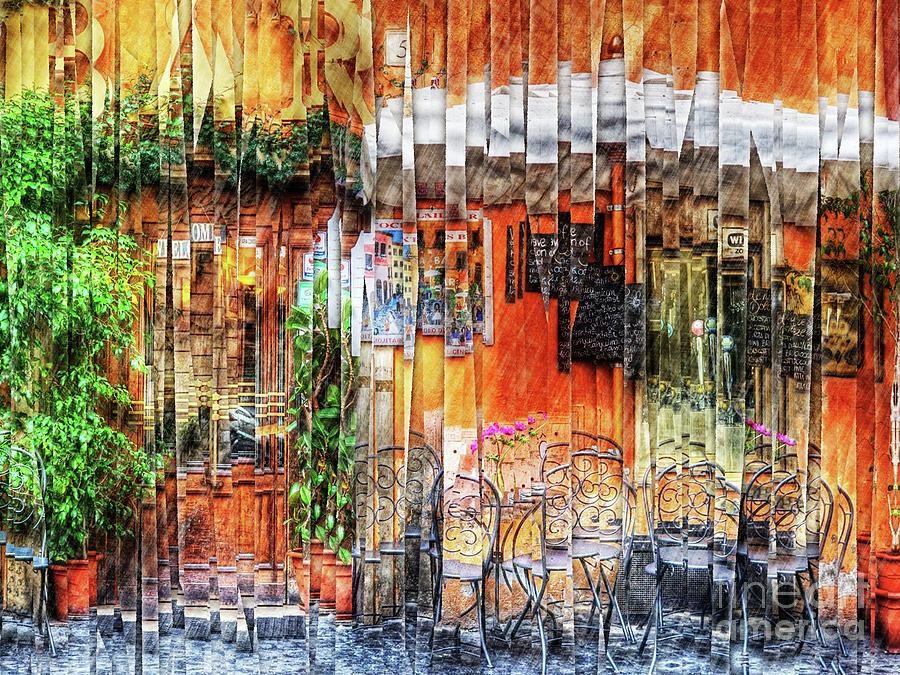 Cafe Digital Art - Colorful Street Cafe by Phil Perkins