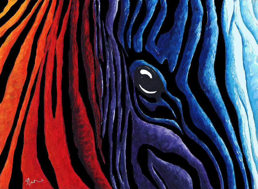 Abstract Painting - Colorful Stripes Original Zebra Painting By Madart In Black by Megan Duncanson